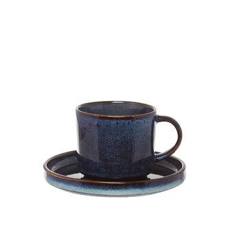 Tazza da tè in stoneware con finitura a smalti reattivi Space
