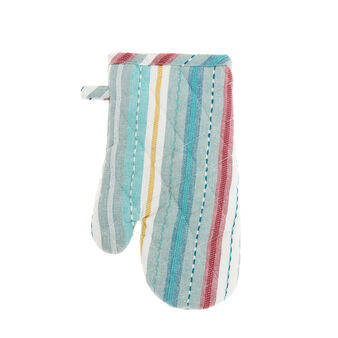 Oven mitt in 100% cotton with striped embroidery