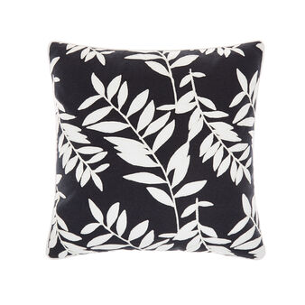 Cotton cushion with ramage embroidery 45x45cm