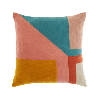 Cushion with geometric embroidery 45 x 45 cm