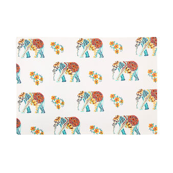 100% cotton table mat with elephants print
