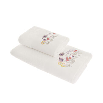 100% cotton towel with floral embroidery