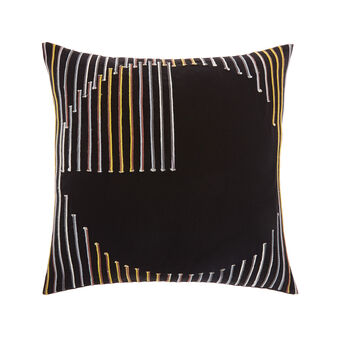 Cotton cushion with geometric embroidery 45 x 45 cm