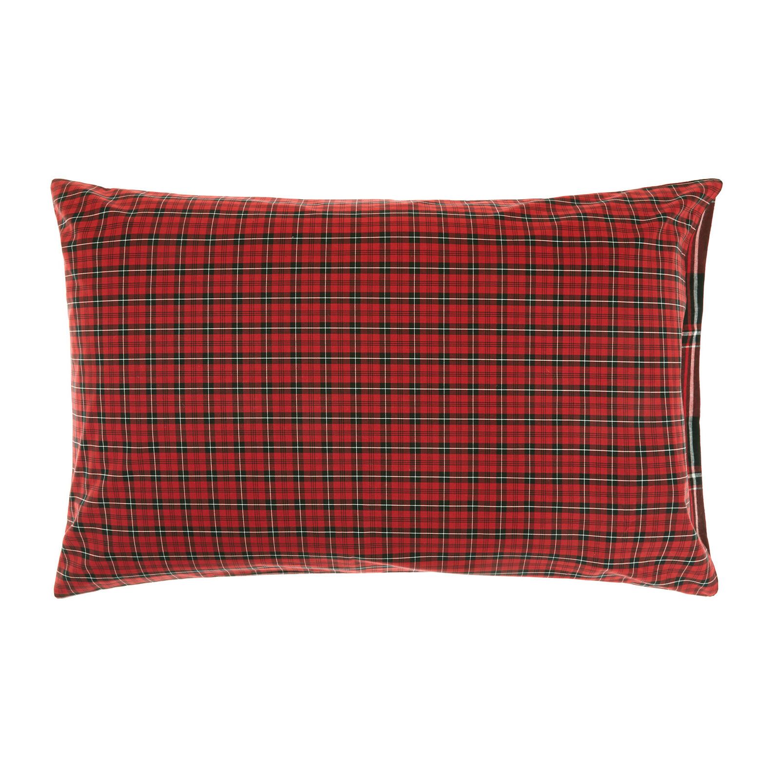 Cotton and flannel pillowcase with check motif