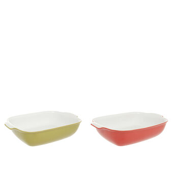 Coloured ceramic oven dish