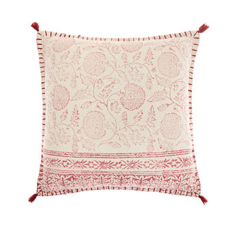 Hand-printed cushion with tassels