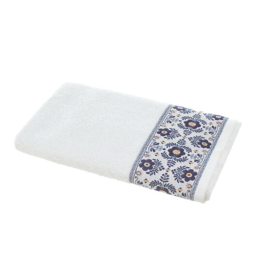 100% cotton jacquard towel with floral embroidery