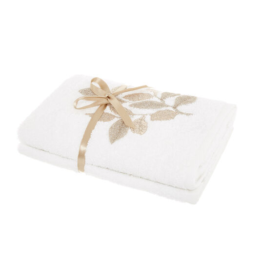 Set of 2 towels with embroidered leaves