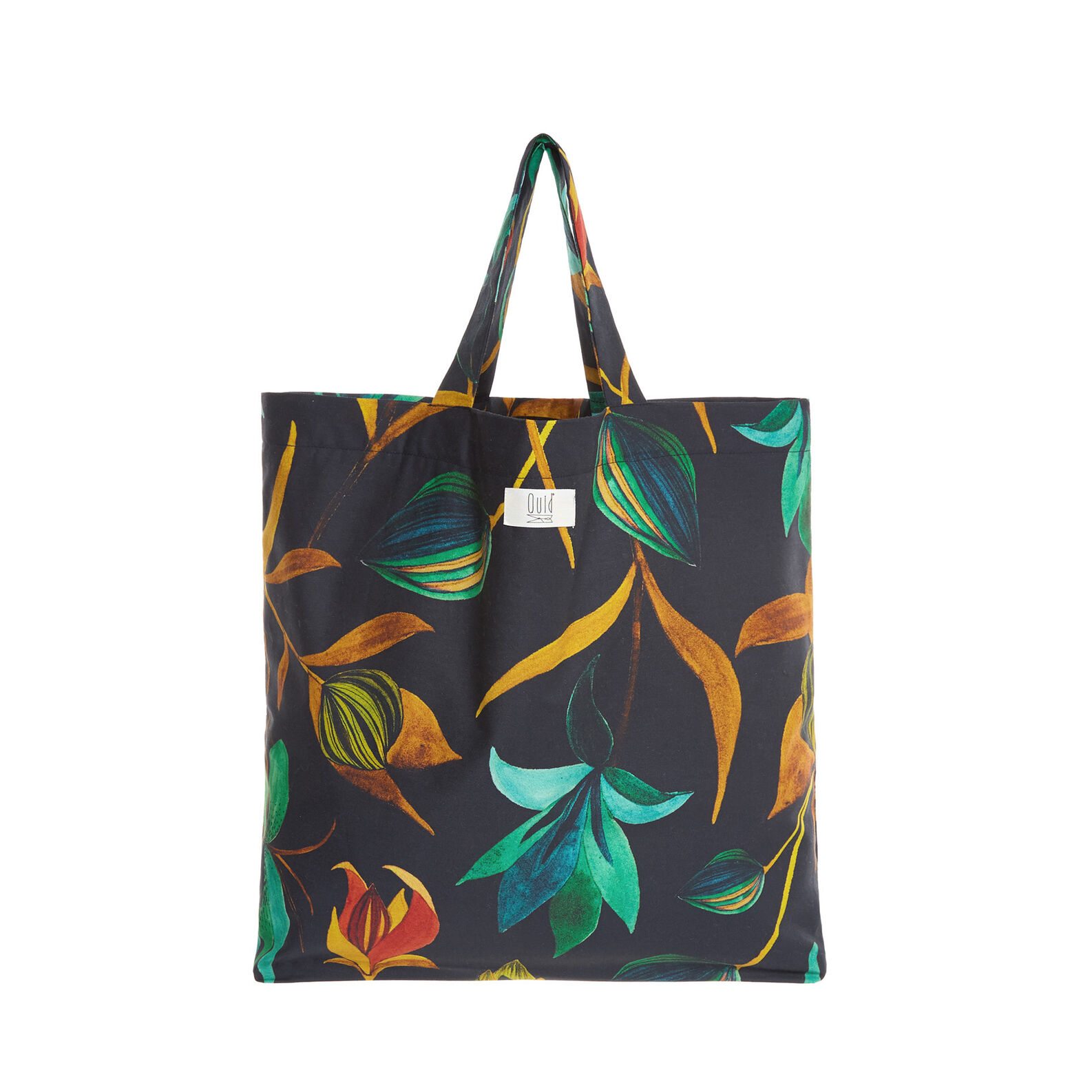 Cotton shopping bag with floral pattern