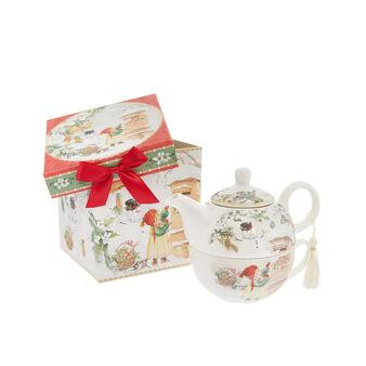 Porcelain tea-for-one set with vintage motif