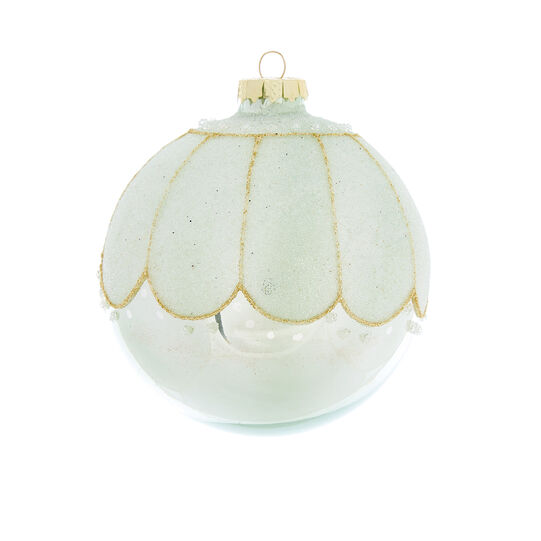 Hand-decorated bauble with petals D8cm