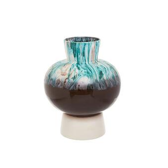 Vaso artigianale in ceramica portoghese e smalti reattivi
