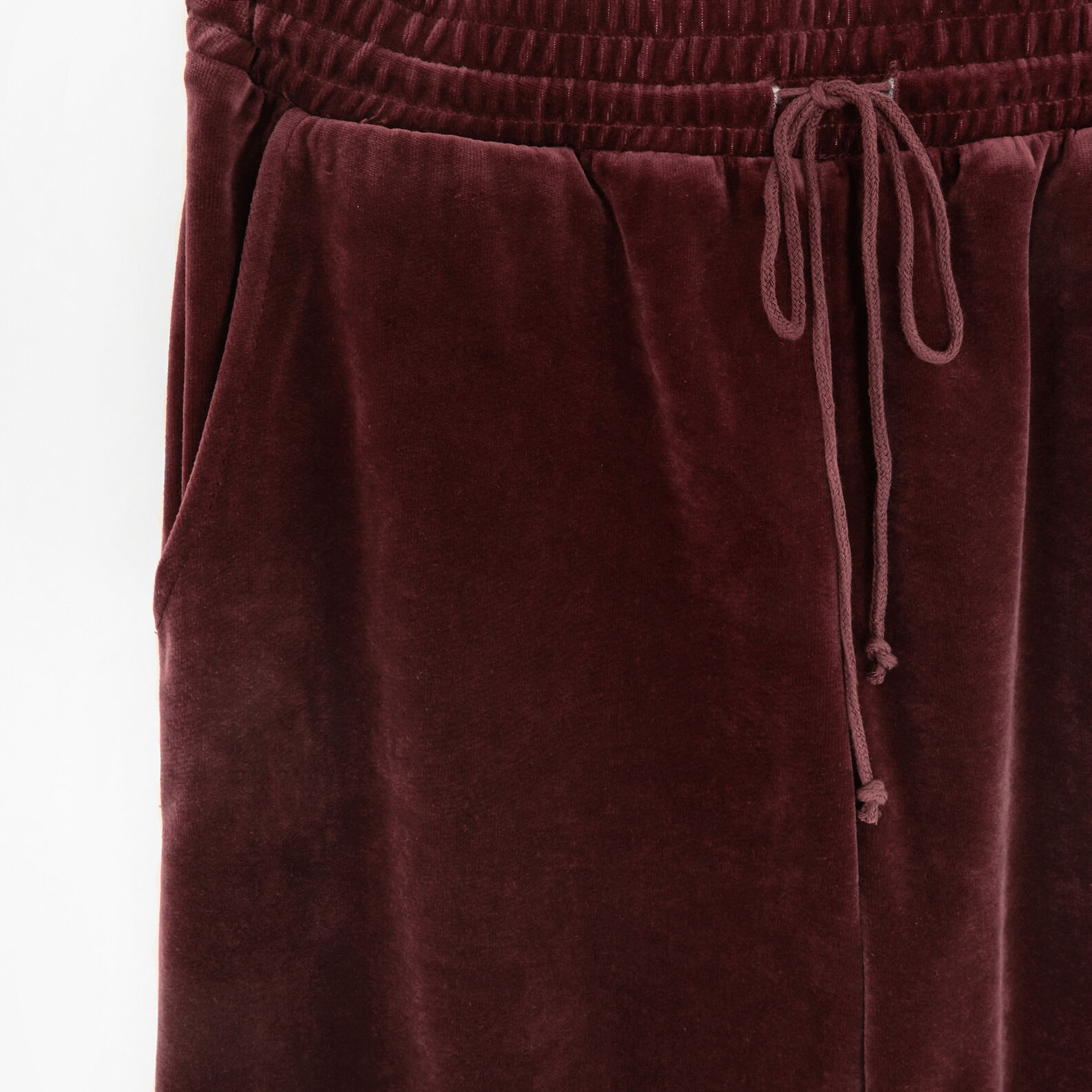 Solid colour velvet trousers