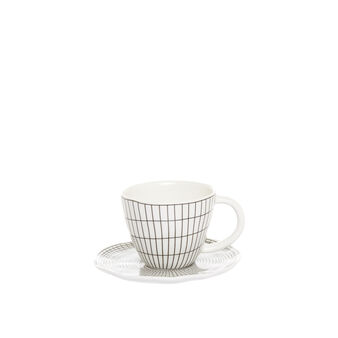 Porcelain coffee cup with geometric motif