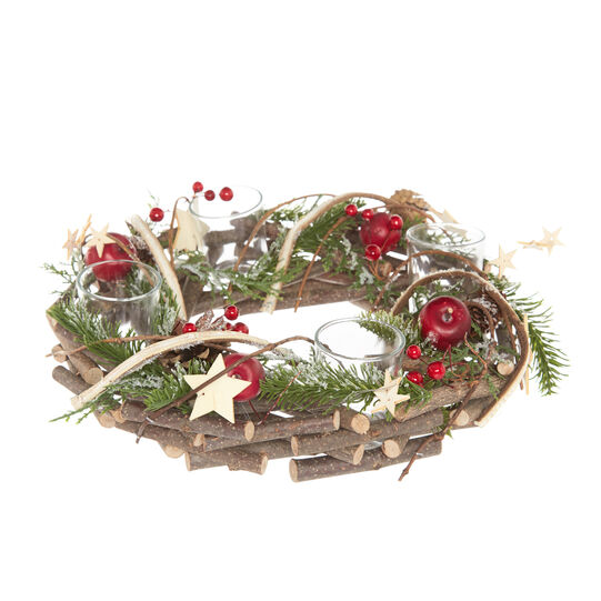Wooden wreath with small apples