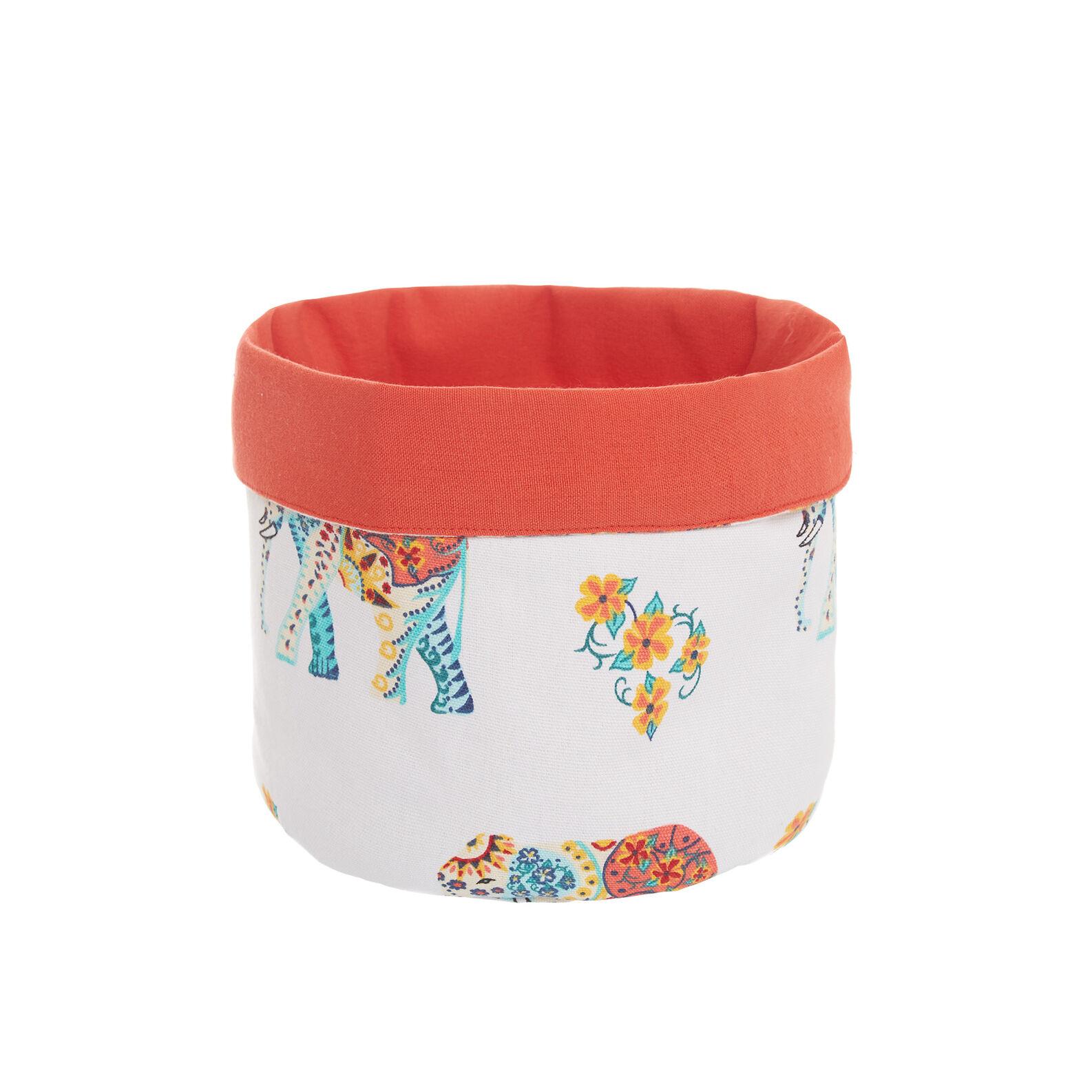 100% cotton basket with elephants print