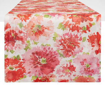 100% cotton table runner with geranium print by Sandra Jacobs