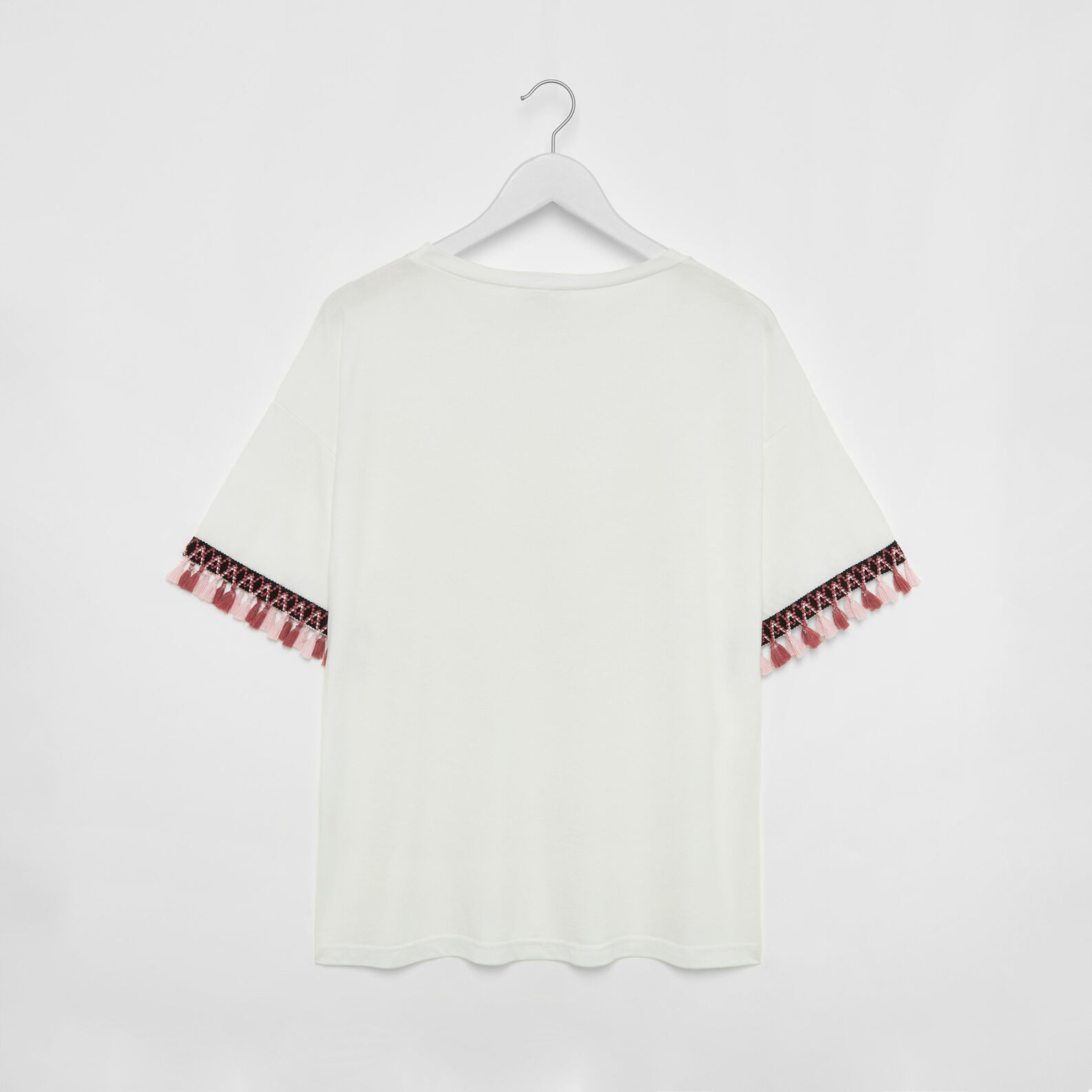 Stretch cotton and modal T-shirt with tassels