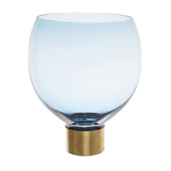 Coloured paste glass vase with metal base