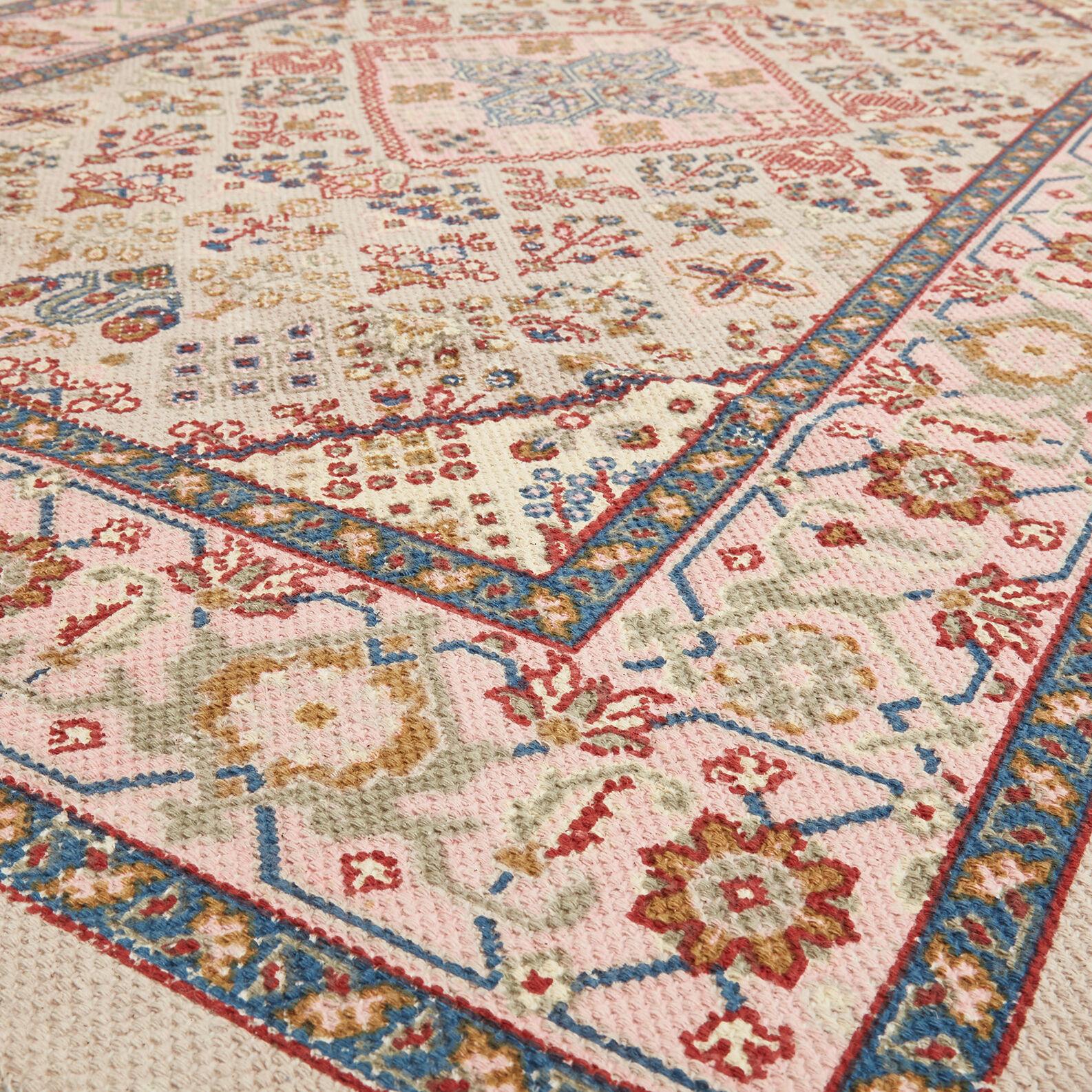 Hand-woven, printed cotton rug