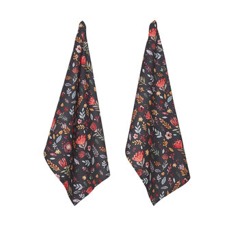 Set of 2 tea cloths in cotton twill with flowers print