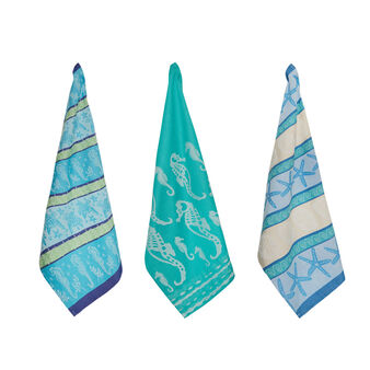 3-pack tea towels in 100% cotton with marine motif