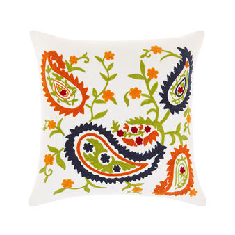 Cushion with raised paisley embroidery