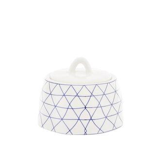 Porcelain sugar bowl with geometric motif
