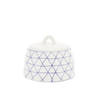 Porcelain sugar bowl with geometric motif