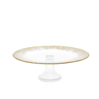 Small glass cake stand with gold edge