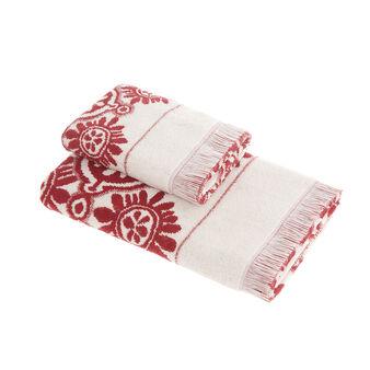 Yarn-dyed cotton towel, circle motif
