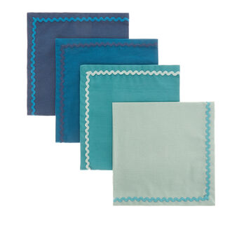 Set of 4 napkins in 100% cotton with trim