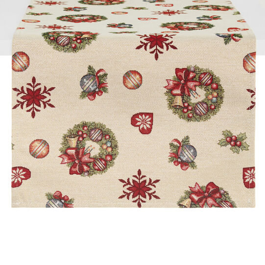 Gobelin table runner with Christmas decorations motif
