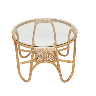 Cargo Franz coffee table in rattan and glass
