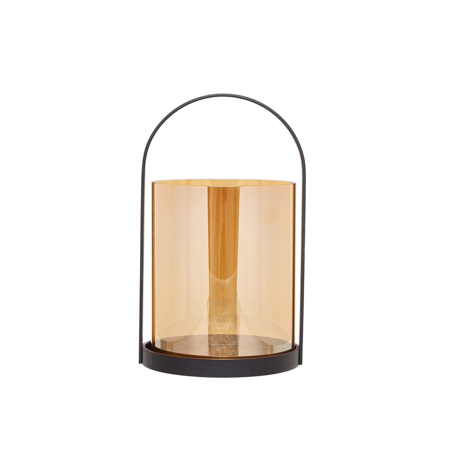 Glass lantern with iron handle