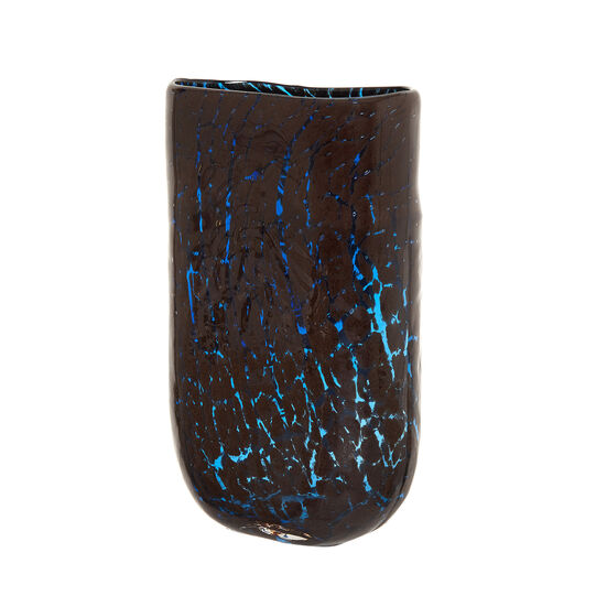 Coloured glass vase with crackle effect