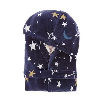 Velvet-effect cotton bathrobe with space motif