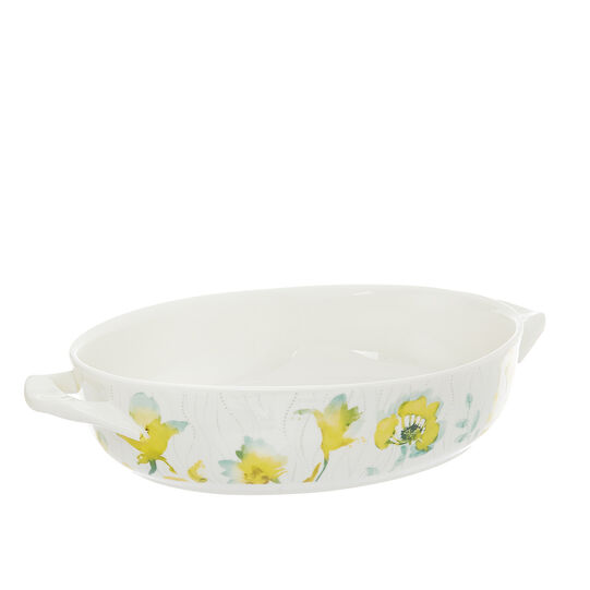 Oven dish in new bone China with yellow flowers