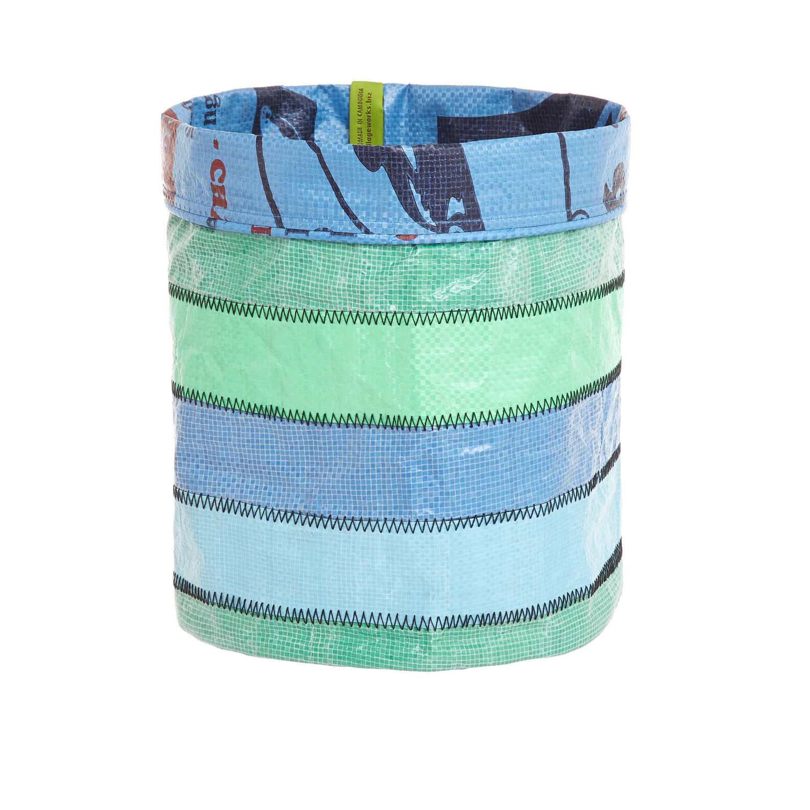 Basket in recycled material