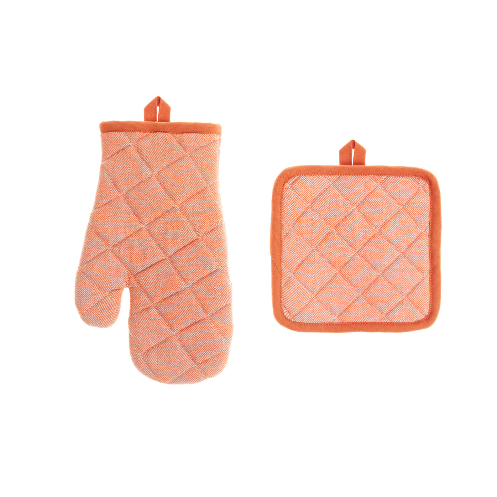 Pot holder and oven mitt set in 100% cotton with yarn-dyed design
