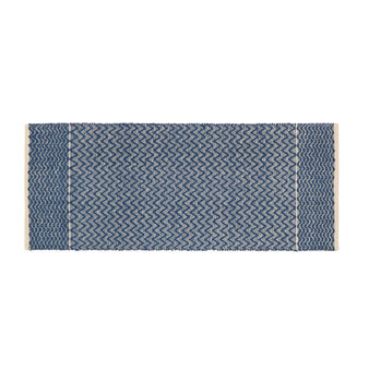 Hand-woven mat in jacquard cotton