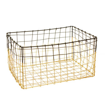 Rectangular basket in two-tone steel