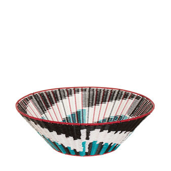 Coloured and patterned cane basket