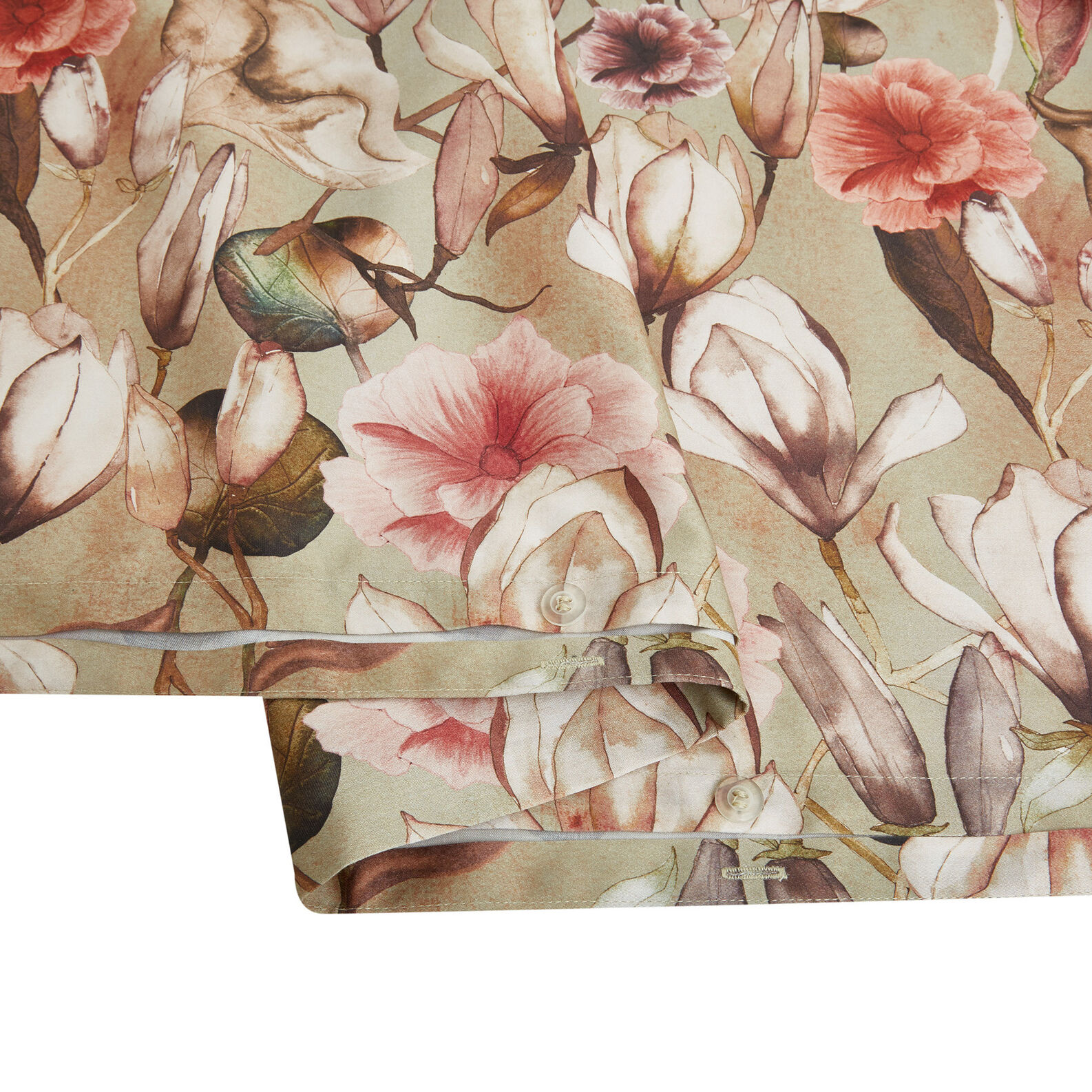 Cotton satin duvet cover with magnolia pattern