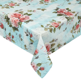 Cotton twill tablecloth with roses print