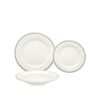 Set 18 piatti new bone china filo silver