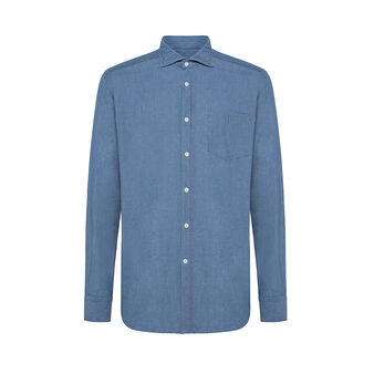 Slim-fit denim shirt with cutaway collar
