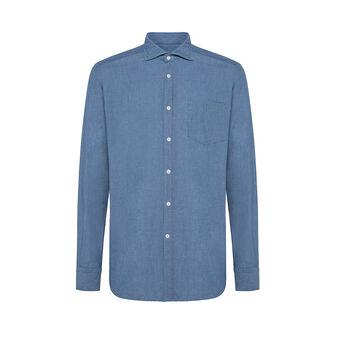 Camicia colletto francese slim fit in denim