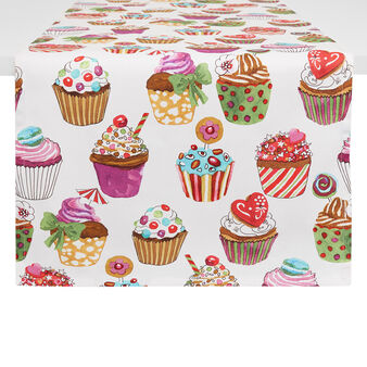 Cotton twill table runner with cupcakes print by Sandra Jacobs design