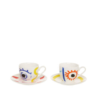 Set of 2 coffee cups in new bone China with abstract motif